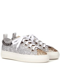 N 21 Glitter And Leather Sneakers Silver