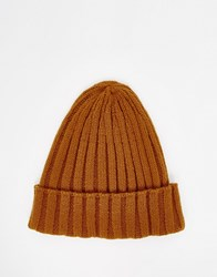 Asos Pointed Ribbed Beanie In Mustard Yellow