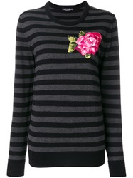 Dolce And Gabbana Embroidered Applique Flower Jumper Virgin Wool Viscose Polyester Polyamide Grey