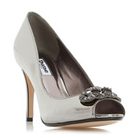 Dune Dolley Jewel Trim Peep Toe Court Shoes Pewter