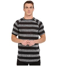 Publish Rojan Striped Loose Gauge Knit Short Sleeve Raglan Black Men's Clothing
