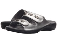 Trotters Kap Pewter Metallic Vegetable Calf Leather Women's Sandals