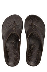 Olukai Men's Waimea Flip Flop Basalt Basalt Leather