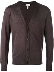 Brioni V Neck Buttoned Cardigan Men Silk Cashmere 48 Brown