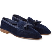 Edward Green Portland Leather Trimmed Suede Tasselled Loafers Blue