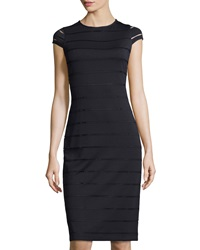 Marc New York By Andrew Marc Perforated Stripe Midi Dress Black