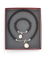 Majorica Ophol 16Mm 22Mm White Baroque Pearl And Leather Pendant Necklace And Bracelet Set Black Pearl
