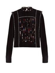 Isabel Marant Fawna Embroidered Top Black Multi
