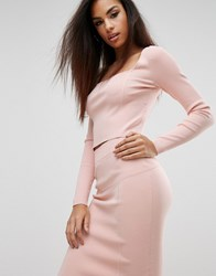 Kendall Kylie Square Neck Long Sleeve Top Rose Gold Pink