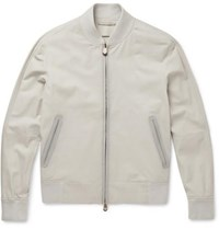Berluti Washed Leather Bomber Jacket Gray