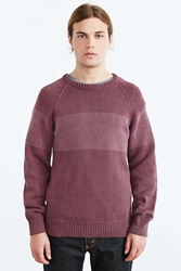Native Youth Bleach Wash Stripe Crew Neck Sweater Maroon