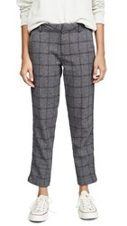 Sundry Plaid Clean Straight Trousers Smoke