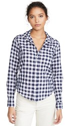Frank And Eileen Barry Button Down Large Navy Check