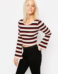 Only Himle Striped Crop Top Black With Stripes