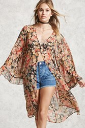 Forever 21 Contemporary Floral Kimono Red Tan