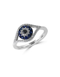 Effy Royale Bleu Sapphire Diamond And 14K White Gold Evil Eye Ring Blue