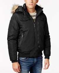 Ben Sherman Men's Hooded Bomber Jacket With Faux Fur Trim Black
