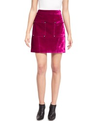 Opening Ceremony Croc Embossed High Waist Mini Skirt Plum Purple