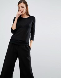 Selected Long Sleeve Knit Top Black