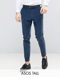 Asos Tall Skinny Cropped Smart Trousers In Cord Teal Green