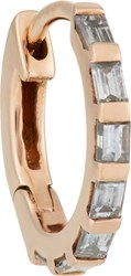 Stone Baguette Diamond And Pink Gold Hoop Earring Colorless
