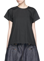 Sacai Lace Up Back Cotton Blend Poplin T Shirt Black