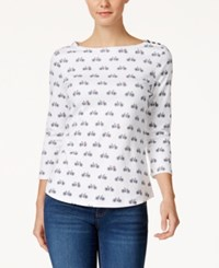 Charter Club Button Shoulder Printed Top Only At Macy's Bright White Combo