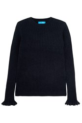 Mih Jeans M.I.H Harpy Ribbed Cashmere And Wool Blend Sweater Navy