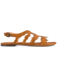 Sartore Laser Cut Details Sandals Women Leather Calf Suede 37 Brown