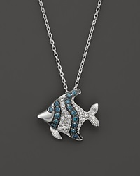 Bloomingdale's Blue And White Diamond Fish Pendant Necklace In 14K White Gold .20 Ct. T.W.