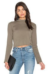 Splendid 1X1 Cropped Turtleneck Olive