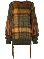 Dsquared2 Tassel Trimmed Checked Jumper Green