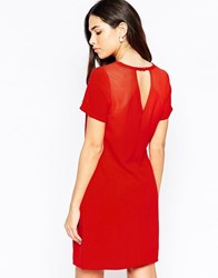 Lavand Short Sleeve Shift Dress With Keyhole Back R