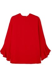 Valentino Ruffled Silk Crepe Blouse Red