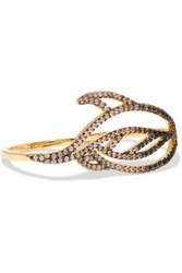 Noir Lustrous Gold Tone Crystal Ring Gold