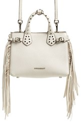 Burberry 'Baby Banner' Fringe Leather Satchel
