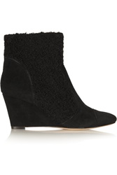 Lucy Choi London Tatiana Boucle Paneled Suede Wedge Ankle Boots Black