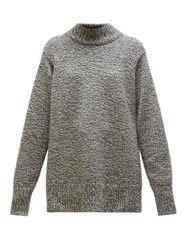 The Row Edmund Mock Neck Cashmere Blend Sweater Grey Multi