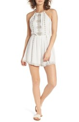 Lush Women's Embroiderd High Neck Romper Off White