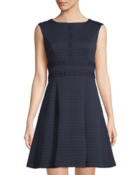 London Times Matelasse Fit And Flare Dress Navy