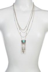 Sparkling Sage Layered Chain Detailed Pendant Necklace Blue