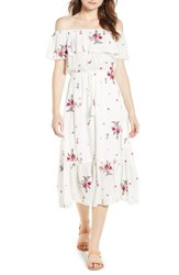 Lost Wander Senorita Embroidered Off The Shoulder Midi Dress White Floral