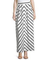 Neiman Marcus Pleated Striped Maxi Skirt White Black