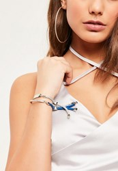 Missguided Silver 2 Pack Rope Tie Bracelets