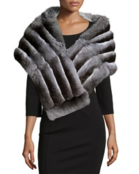 Gorski Chinchilla Fur Shawl Gray