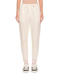 Ermanno Scervino Pull On Wool Jersey Jogger Track Pants Ivory