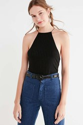 Truly Madly Deeply High Neck Ribbed Tank Top Black