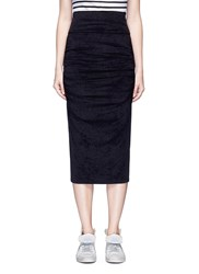 James Perse Ruched Velvet Midi Skirt Black