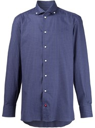 Isaia Plaid Button Down Shirt Blue
