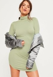 Missguided Green Curve Hem Roll Neck Bodycon Dress